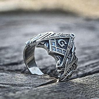 3d square compass g stainless steel masonic ring