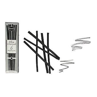 Coates Willow Charcoal 6 x Medium Sticks (5 - 6mm)