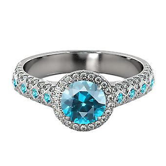 2.50 ctw Blue Topaz Ring with Diamonds 14K White Gold Vintage Micro Pave Halo