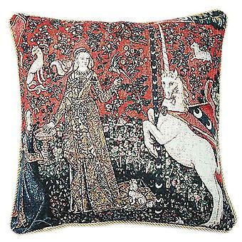 Lady ja yksisarvinen makuaisti tyynynpäällinen | taidetyynyt 18x18 | Kävi koulua ccov-art-lu-ta