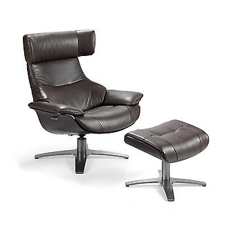 Angel cerdá - leather swivel chair/ lounger sage with footstool