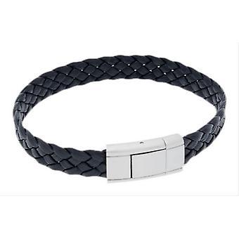 Duncan Walton Vella Braided Leather and Steel Bracelet - Black