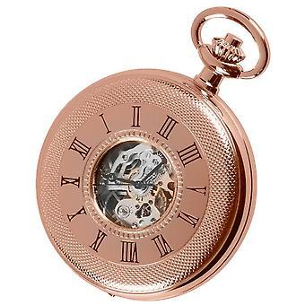 Woodford Rose Gold Engine Turned Half Hunter Skeleton Pocket Watch - Rose Gold