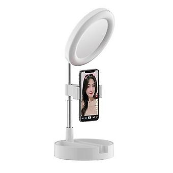 G3 3 in 1 dimmable led ring light 6 inch folding desktop selfie light mirror lamp for youtube tiktok live streaming makeup