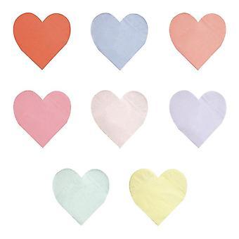 Meri Meri Pastell Palett Hjärta Stora pappersfest servetter x 20