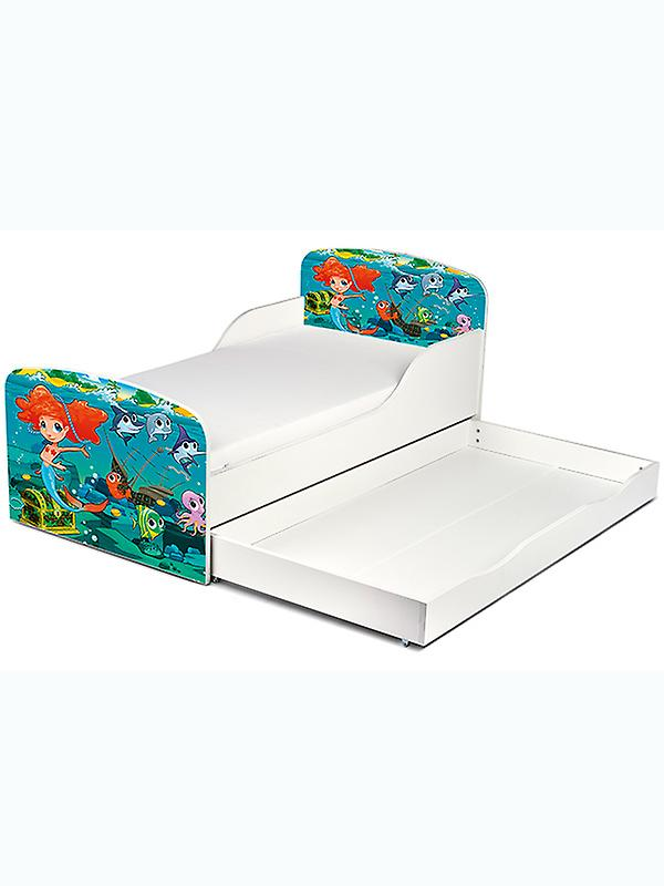 PriceRightHome Mermaid Toddler Bed With Underbed Storage