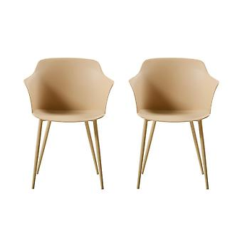 Metal Khaki Color Crown Chair, PP 53x59x81.5 cm