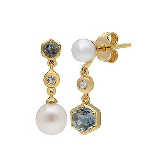 Modern Pearl, Aquamarine & Topaz Mismatched Drop Earrings in Gold Plated Sterling Silver  270E030105925