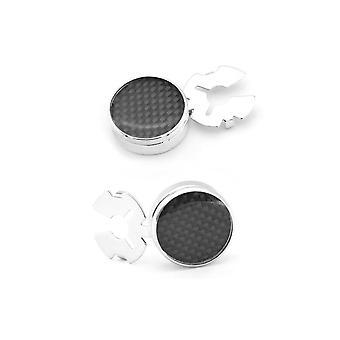 Carbon Black Fibre Cufflinks Button Cover Shirt Fashion Smart Silver Present FREE UK
