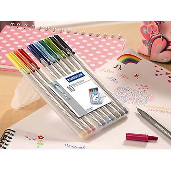 Staedtler Triplus Fineliner Pen Set Of 10 Colours