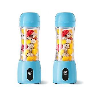 Soga 2X 380Ml Mini Usb Rechargeable Handheld Fruit Mixer Juicer Blue