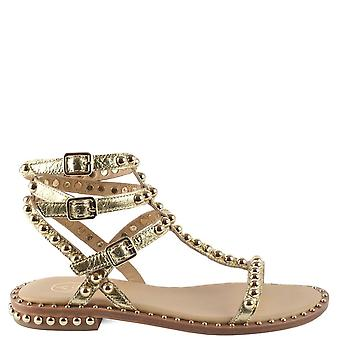 Ash Footwear Play Gold Leather Studded Sandals