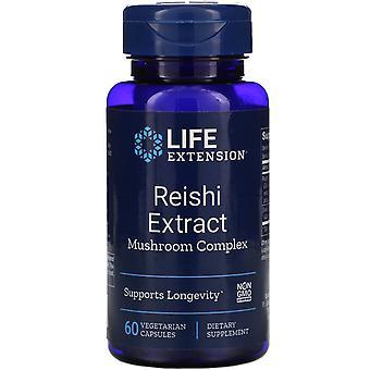 Extensión de la vida, Complejo de setas de extracto de Reishi, 60 cápsulas vegetarianas