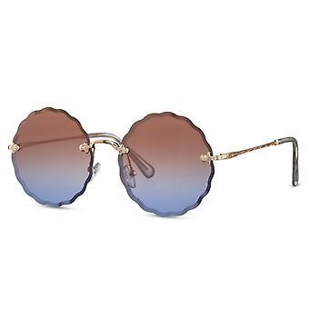 النظارات الشمسية السيدات جولة القط بلا حواف. 2 الذهب / البني