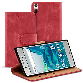 Vintage Book Case with Card Slot for Sony Xperia XZ Wallet Stylish LeatherEtte Red