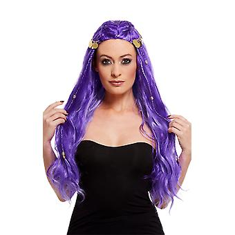 Womens Long Purple Wig Fairy Princess Mermaid Witch Hair Fancy Dress
