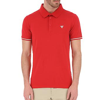 Guess Stretch Mens Cotton Polo Shirt - Red