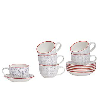 Nicola Spring 12 Piece Hand-Printed Cappuccino Cup and Saucer Set - Japanese Style Porcelain Coffee Teacups - Purple - 250ml