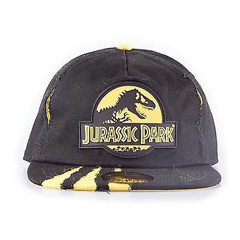 Jurassic Park Logo Rubber Patch met gescheurd effect Snapback Cap Zwart / Geel
