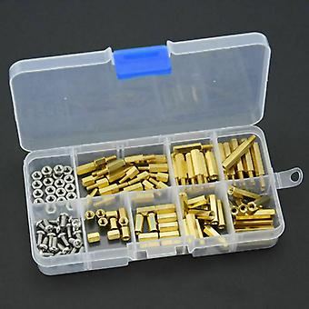 120pcs M3 Brass Gasket  Bracket  Nut  Screw  Sorting Kit