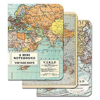 Cavallini Vintage Maps Journal Diary Notebooks x 3