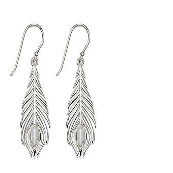 Elementos prata prata prata pavão brincos de penas E5811W