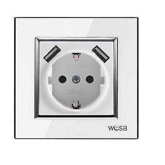 Double Usb One Socket Ground With White Acrylic Patch Frame European Standard