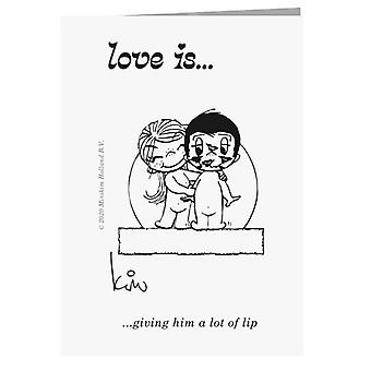 Liebe gibt ihm eine Menge Lippen-Grußkarte