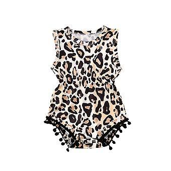 Neugeborenen Baby Sommer Leopard/Kaktus Body ärmellose Quaste Kugeln Jumpsuit