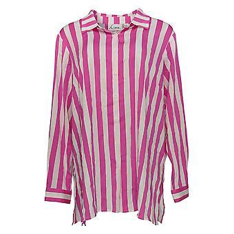 Linea por Louis Dell'Olio Women's Top Button Front Striped Pink A349653