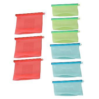 10pcs 500/1000ml wiederverwendbare Silikon Lebensmittel Aufbewahrung Taschen 4Blue 4Green 2Red