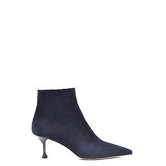 Prada Ezbc021034 Women's Blue Suede Ankle Boots