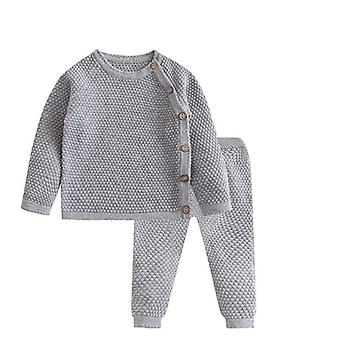 Baby-Kleidung Set Herbst, Winter, Einfarbig, Langarm Tops + Hose Outfits