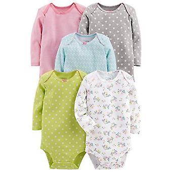 Enkle gleder av Carter's Girls' 5-Pack langermet bodysuit, solid, 12 måneder