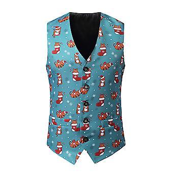 YANGFAN Mens Christmas Print Suit Vest Fancy V Collo Waistcoat