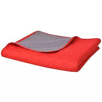 Zweiseitige Steppdecke Tagesdecke Rot/Grau 230x260 cm