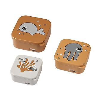 Done By Deer Snack Box Set 3pcs Sea Friends Mustard/grey