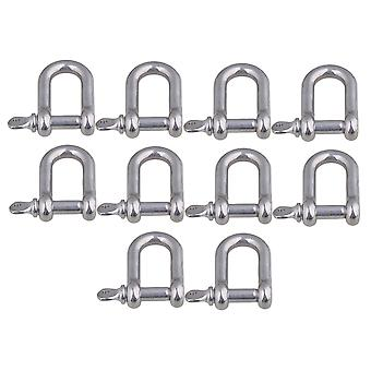 10 Pieces 35x32mm Silver 304 Stainless Steel M6 D Shackle Rigging Tool