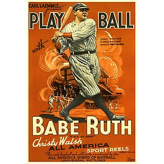 Play Ball With Babe Ruth Movie Poster Print (27 x 40)