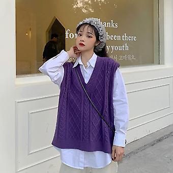 Solid Classic Retro Stylish V-neck All-match Ulzzang Streetwear Loose Female