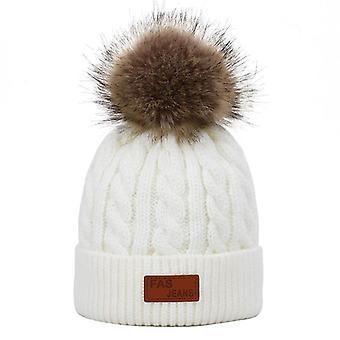 Children's Pompon Knit Hat, Scarf, Kids Winter Warm Outdoor Casual