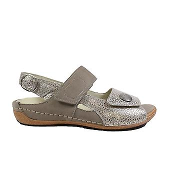 Waldläufer Heliett 342002 205 629 Beige Nubuck Leather Womens Wide Fit Adjustable Sandals