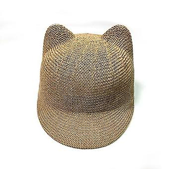 Straw Baby Cap And Solid Summer Baby Sun Hat/breathable With Ears Beach Kids