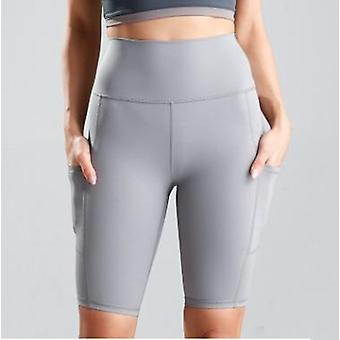 Women Cycling Running Fitness High Waist Push Up Hip Side Pocket Gym Shorts