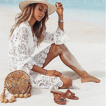 Hollow Crochet Cover-ups Tunic Beach Dress