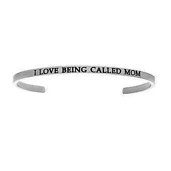 """Intuitions Stainless Steel I LOVE BEING CALLED MOM Diamond Accent Cuff  Bangle Bracelet, 7"""""""