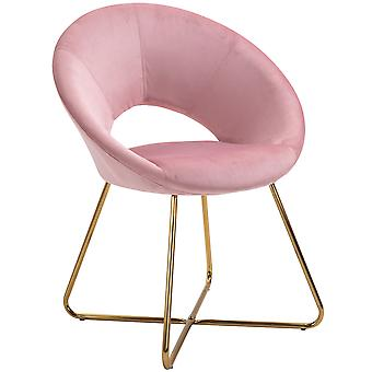 HOMCOM Modern Accent Chairs Velvet Upholstered Armchair with Gold Legs for Living room Bedroom Dinning Room Pink