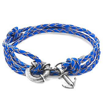ANCHOR & CREW Clyde Anchor Silver and Braided Leather Bracelet