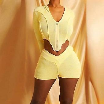 kvinner 2 stk sett hette glidelås asymmetrisk langermet topp og høy