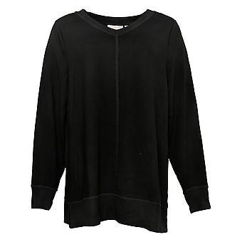 Belle Par Kim Gravel Women's Top Super Soft V-Neck Tunic Black A38346